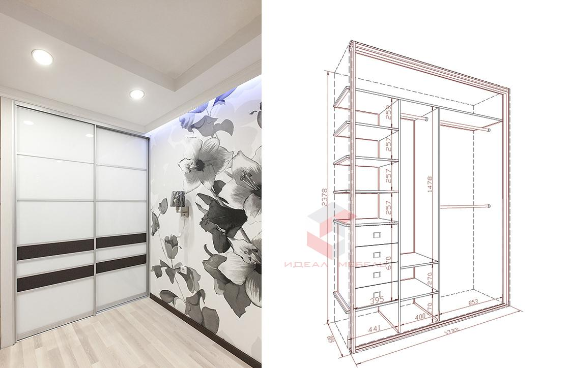 Шкафы купе фото дизайн внутри с размерами с двумя створками.